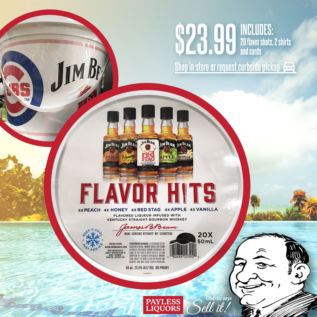 Jim Beam Flavor Shooters Buckets - Includes 2 shirts and cards